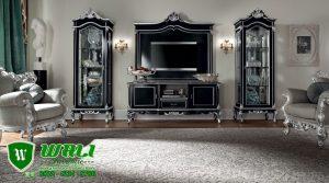 Set Bufet TV Mewah Warna Hitam Klasik Model Eropa