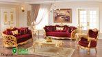 Kursi Tamu Sofa Mewah Merah Gold Ukir Jepara Terbaru