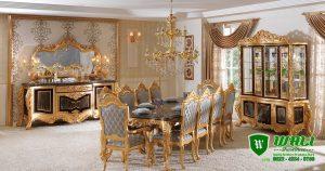 Meja Makan Luxury Set Ukir Gold Mewah Klasik