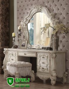 Meja Rias Ukir Putih Mewah Model Eropa