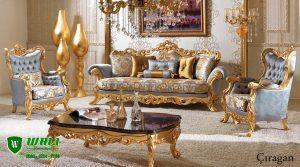 Set Sofa Ruang Tamu Klasik Ukiran Duco Emas Mewah