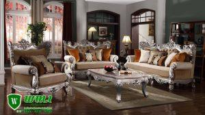 Sofa Ruang Tamu Silver Klasik Elegan Ukir Mebel Jepara