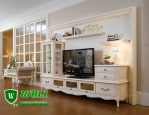 Bufet TV Minimalis Modern Warna Putih Model Pendek