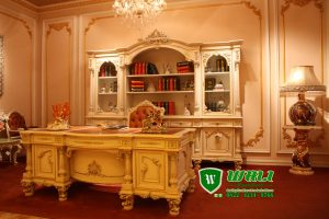 Meja Direktur Mewah Ukiran Jepara Model Eropa Putih