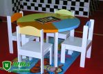 Meja Kursi Belajar Kayu Anak TK Model Bundar