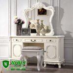 Meja Rias Putih Ukiran Mewah Elegan Mebel Jepara