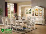 Set Meja Makan Putih 8 Seat Model Ukir Jepara Mewah