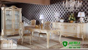 Set Meja Makan Putih Mewah Klasik Model Ukir Jepara