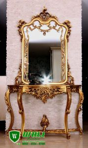 Meja Console Mirror Mewah Ukir Jepara Model Eropa