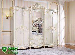 Lemari Pakaian 6 Pintu Warna Putih Duco Mebel Jepara