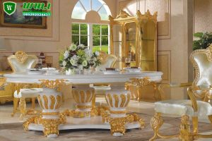 KURSI MAKAN LUXURIOUS GOLD DINING ROOM WITH GOLD CUPBOARD WHITE